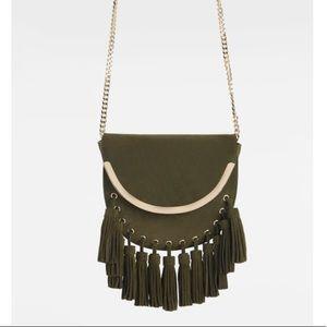 Zara genuine suede leather crossbody with tassels